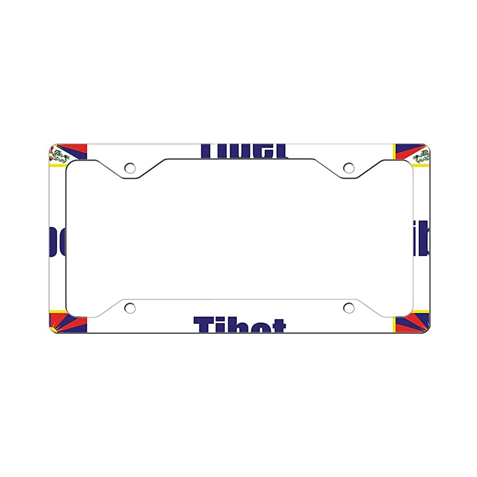 Style In Print Custom License Plate Frame Tibet Country Flag Aluminum Cute Car Accessories Narrow Top Design Only Set of 2