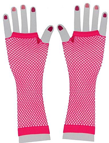 Foxxeo neon Pinke Netzhandschuhe für Damen 80er Jahre Party Handschuhe pink Karneval Fasching Motto-Party