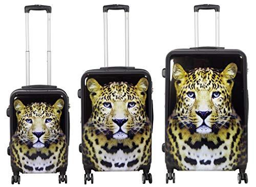 KoTaRu Koffer-Set Leopard Trolleyset 3-teilig 220 Liter Zahlenschloss Schwarz
