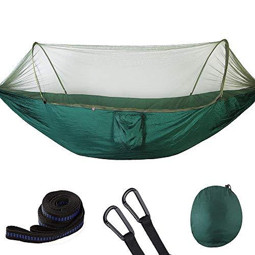 Zerodis - Hamaca de camping con mosquitera y tienda de campaña, 250 x 120 cm, portátil, ligera, de nailon de paracaídas, hamaca con correas de árbol para acampada Verde oscuro