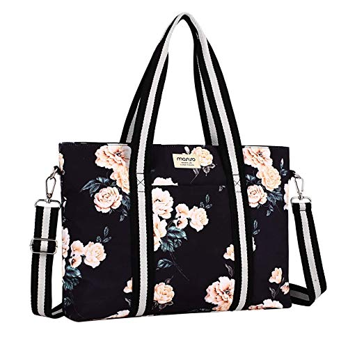 MOSISO Laptop Tote Bag for Women (Up to 17.3 inch), Canvas Camellia Multifunctional Work Travel Shopping Duffel Carrying Shoulder Handbag Compatible with MacBook, Notebook and Chromebook, Black