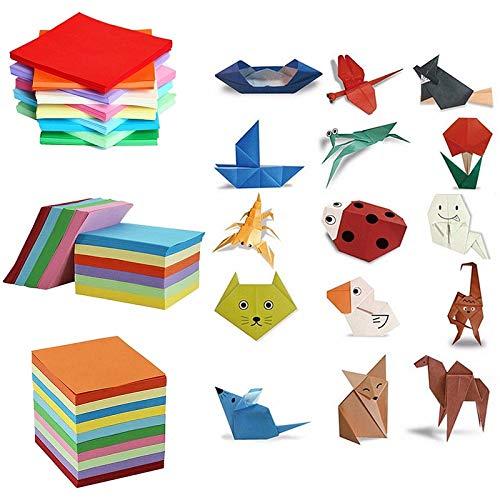 Papel de Origami Mixto Manualidades de Color de Doble Cara Cuadrado Surtido Herramientas de artesanía de Papel Plegable Varios tamaños - 200 Piezas 15x15 cm
