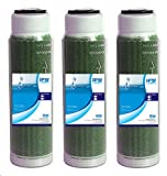Compatible with Aquatic Life Compatible Reverse Osmosis Deionization (RODI) 10' Color Indicating Mixed Bed DI Resin Cartridge 3-Pack. Filled with Resintech MBD-30-NG Nuclear Grade Mixed Bed Resin