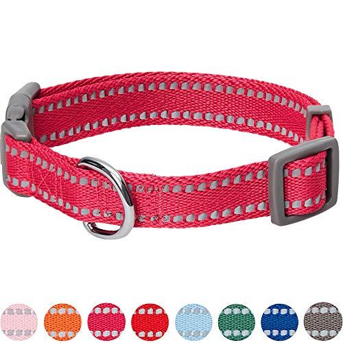UMI. Essential Pastellfarbenes, reflektierendes Hundehalsband in Beerenrot, Small, Hals 30cm-40cm, verstellbare Halsbänder für Hunde