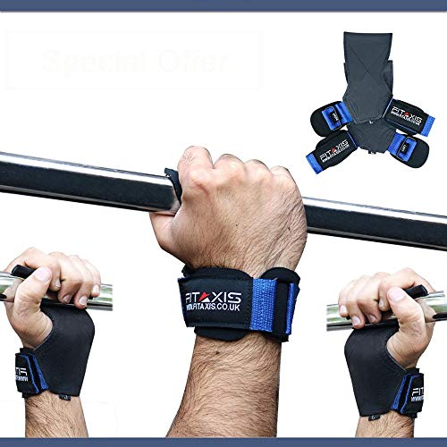 FITAXIS® Weight Lifting Grip Straps/Hooks, Premium Heavy duty gewichtheffen band/handschoenen