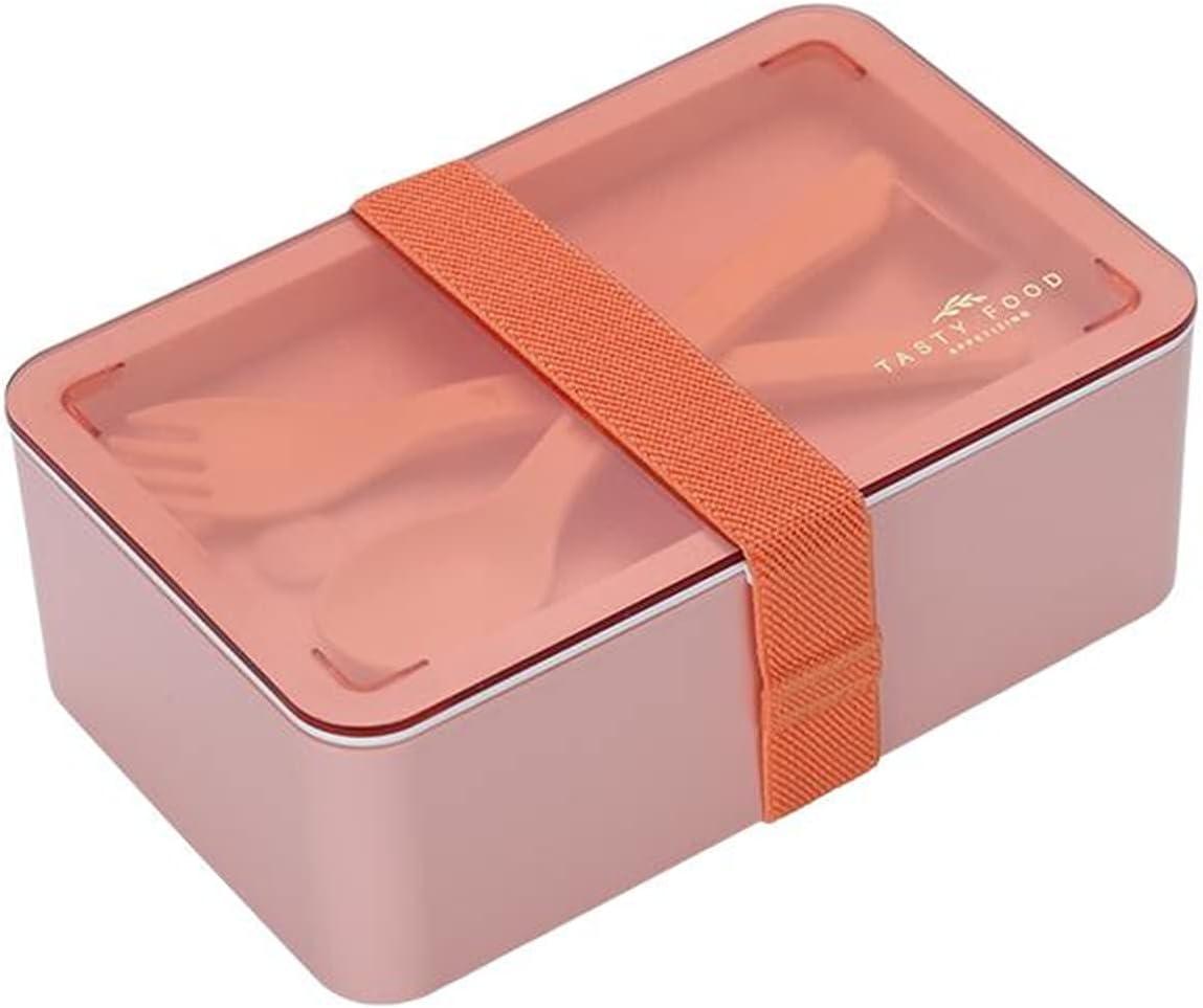 Fiambrera rectangular para microondas con 2 compartimentos con correa, elegante multicolor rectangular con práctico cuchara y tenedor, apto para picnic, camping, empresa, escuela, color rosa