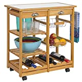 Best Choice Products Rolling Wood Kitchen Storage Cart Dining Trolley w/Drawers, Fruit Baskets, Wine Rack