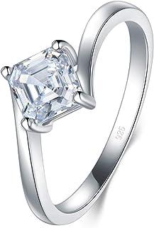 BORUO 925 纯银戒指,方晶锆石婚戒可叠放戒指 3mm 尺寸 6