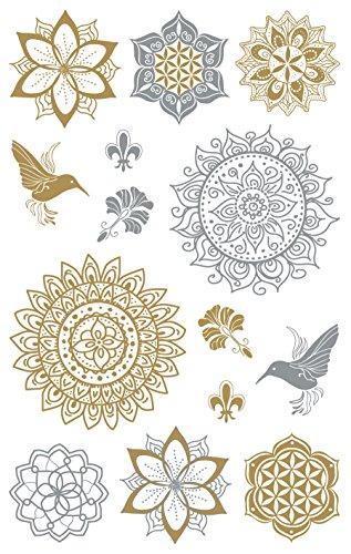 AVERY Zweckform Folien Sticker Mandala 14 Aufkleber silber & gold (Dekosticker, Aufkleber, selbstklebend, Scrapbooking, Bullet Journal, Geburtstag, Dekorieren, Basteln, Karten, Fotoalbum) 55657