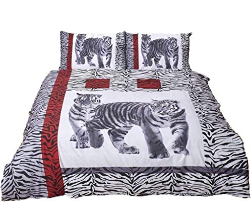 Comfy Nights 3D Design Animal Script Printed Duvet Cover Set, Tiger Black - Double