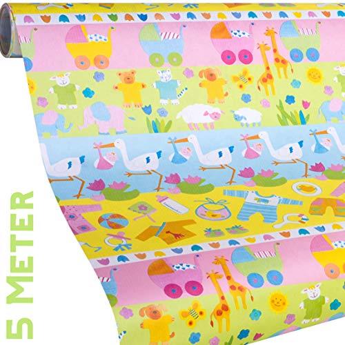 Geschenkpapier BABY - 5 Meter Rolle Baby Geschenkpapier + 9x Geschenkanhänger - für Mädchen und Jungs zur Geburt, zum 1. Geburtstag, Taufe - reißfestes Premium Geschenkpapier - umweltfreundlich