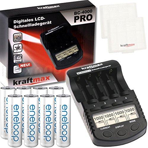 Kraftmax Kombipack - Kraftmax BC-4000 Pro Ladegerät und 8X Pansonic Eneloop AA/Mignon Akkus - Neueste Generation - Hochleistungs Akku Batterien in Kraftmax Akkuboxen V5