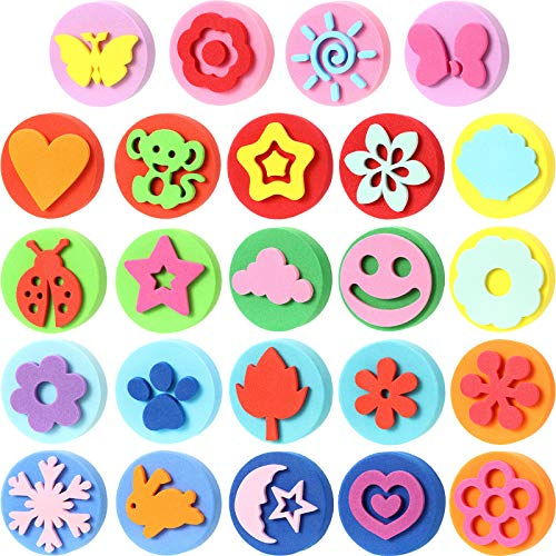 Outus 24 Pieces EVA Painting Sponges Foam Painting Stamper Double-Side Sponge Stamper Paint Drawing Sponges for Kids Toddlers Early Learning and Crafts DIY, Assorted Shapes