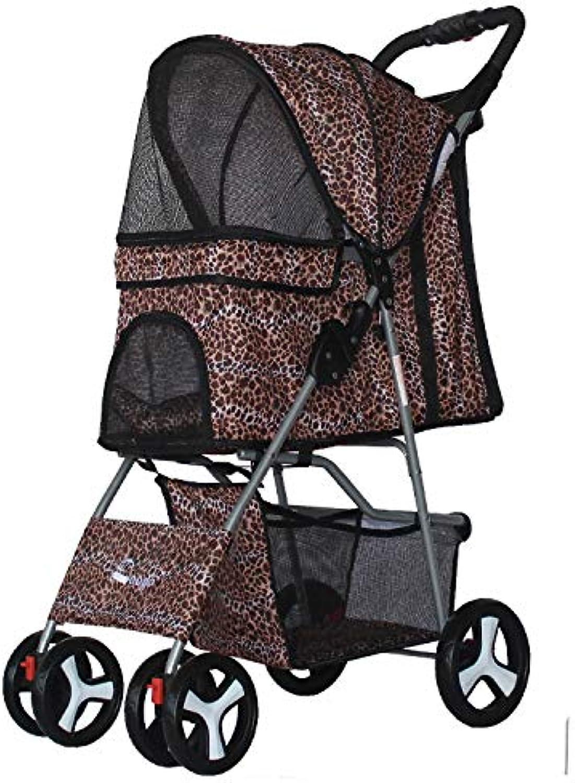 Brtjt Pram Pet Dog Pram Pet Stroller High End Pet Tricycle Cat and Dog Cart Fast Folding Lightweight and Practical Jogging Cart Leopard