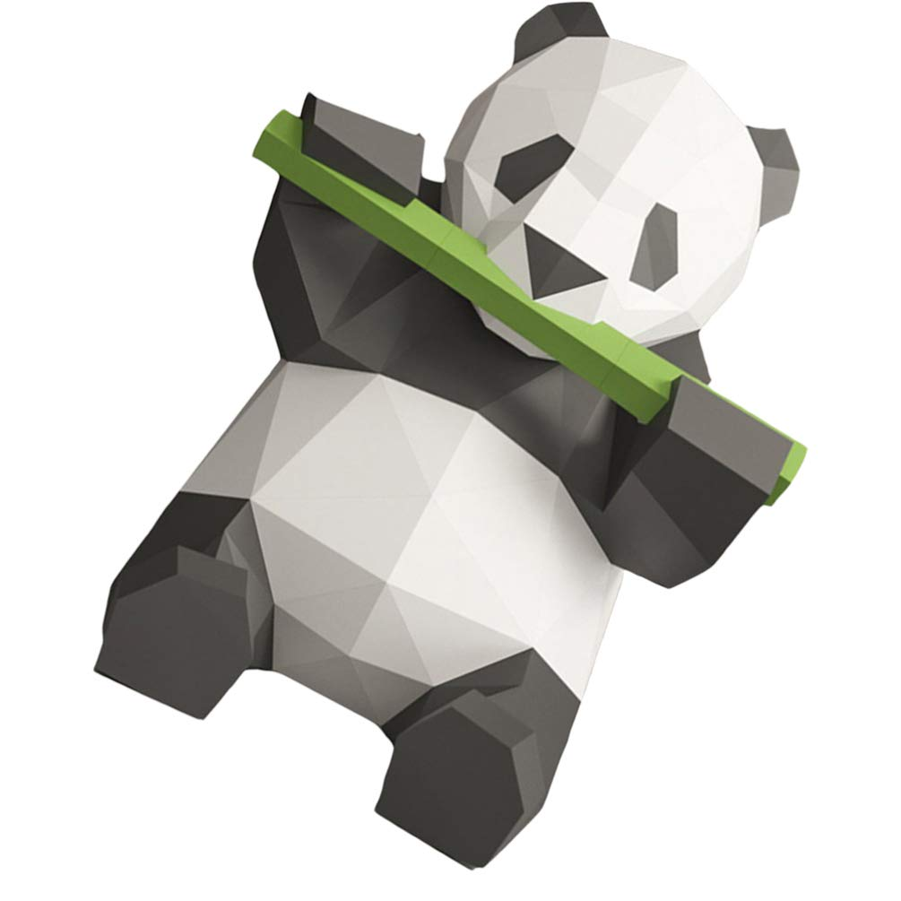 Card Paper Toyvian 3D Paper Animals Nimal Papercraft Building Kit Panda Eats Bamboo Origami Paper Model Ornament DIY Toy For Kids Toddlers