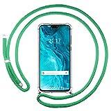 Housse pendentif transparente pour Huawei Honor 9X Lite avec cordon vert eau