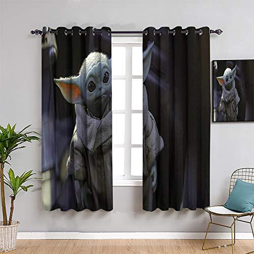 Ficldxc Star Wars aislamiento de la habitación oscurecimiento de oscurecimiento, cortinas de 63 pulgadas de longitud bebé Yo-da el mandaloriano traer belleza para niños de 63 x 63 pulgadas