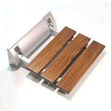JCWANGDEFU Folding Shower Seat Wall Mounted Bathroom Bath Safety Stool Chair Bench, 12.8-Inch by 12.4-Inch, Load of 350 lbs, Teak