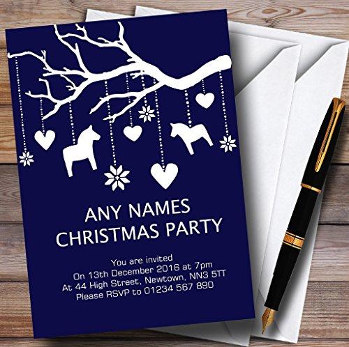 Kerstfeest nodigt blauw schommelende paardenboom gepersonaliseerde kerstfeest uitnodigingen met enveloppen - elke aangepaste tekst voor elke gelegenheid 150 Cards & Envelopes Blauw