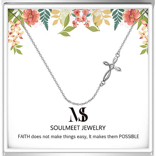 SOULMEET Sterling Silver Coss Sideways Choker Necklace Celtic Knot Design Birthday Christmas LayerNecklace Gifts for Women