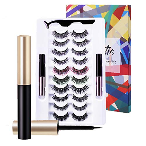 Updated 10 Pairs Magnetic Eyelashes with 2 Tube Eyeliner Kit Reusable False Lashes with Natural Look,Waterproof,No Glue