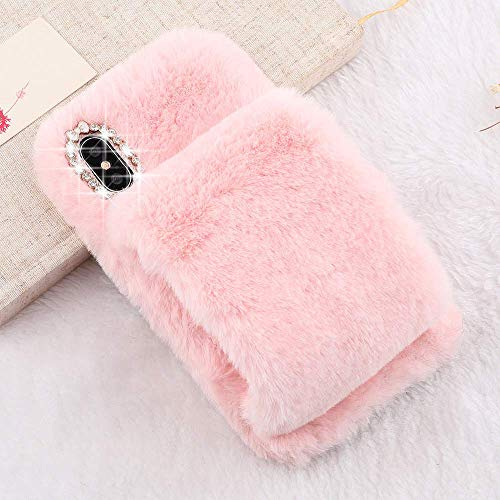 Plush Case for iPhone 5 5S SE LAPOPNUT Luxury Furry Fluffy Case Soft Faux Fur Fuzzy Mittens Design Cover with Bling Glitter 3D Diamond Bowknot Protective Case for Girls,Pink