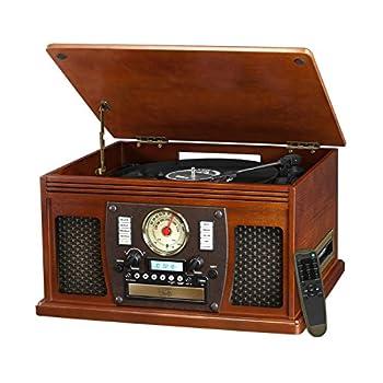 it.innovative technology Victrola Nostalgic Aviator Wood 8-in-1 Bluetooth Turntable Entertainment Center Mahogany  Renewed