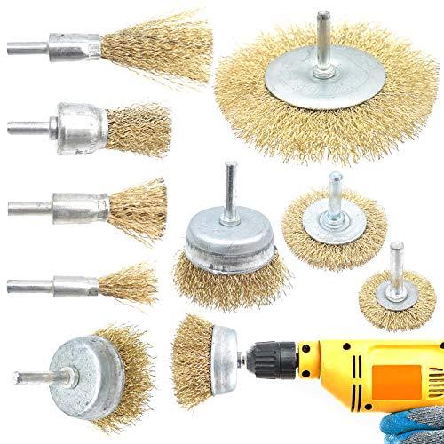 Cisolen 9 piezas Cepillo de Alambre Revestido de Latón, Cepillo Metálico para Eliminación de Oxido Corrosión Pintura