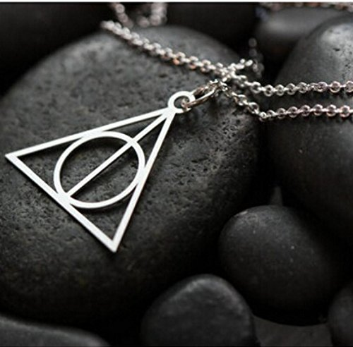 Collar simple Fashion Stylish Jewelry con símbolo de Las reliquias de la muerte de Harry Potter para mujer. Forma triangular. Color dorado y plateado