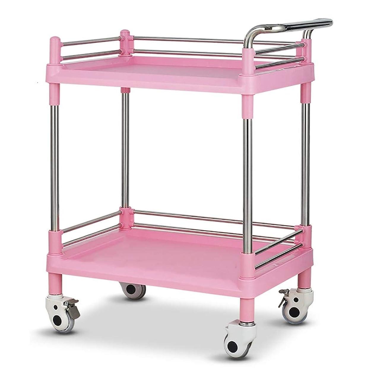 馬鹿げたガイダンス広げる美容院の医学の移動式カート、多機能の器械用具の変更の薬車のプラスチックステンレス鋼の棚 (サイズ さいず : 64.5*44.5*90cm)