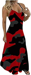 Routinfly Frauen Vintage Sommerkleider Damen Boho Maxi Kleid,Long Party Kleider Freizeitkleid Swing Dress Böhmen Kleider,Damen Plus Size Camouflage Ärmelloses V-Collar Langes Kleid Maxikleid