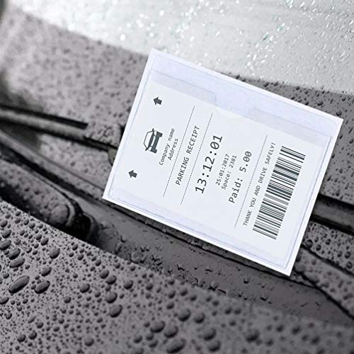 Parking Permit Holder - 10 Pcs Clear Self-Adhesive Ticket and Note Holders Car Windscreen Pass Holder Note Placard Protector Cover for Car, Permits, Badges and Caravan Windscreen (10 Pcs) Photo #5