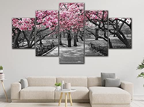 GHYTR Cuadro En Lienzo Decoracion 5 Piezas HD Imagen Impresiones En Lienzo Póster Pintura Cherry Blossoms Tree Central Park En Flor 5 Piezas Cuadro Moderno XXL 150X80Cm Murales Pared Oficina Decor