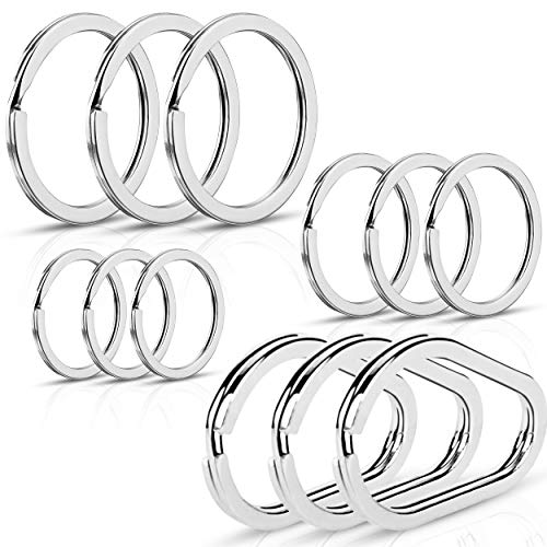 Lokey Key Rings (12pcs) Assorted Flat Metal Keyrings Including Unique Oval Ring, Set of 12 with 4 Different Sizes, Multipurpose Use for Car, Home, Office Keys and Zipper Pulls