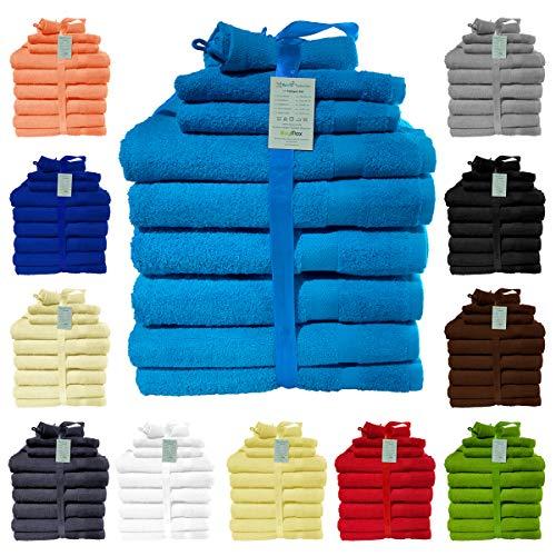 10 TLG Handtuch-Set Sparset 2X Badetücher, 2X Gästetücher, 2X Waschhandschuhe, 2X Duschtücher, 2X Badvorleger, 100% Baumwolle Oeko Tex Standard, Farbe Türkis
