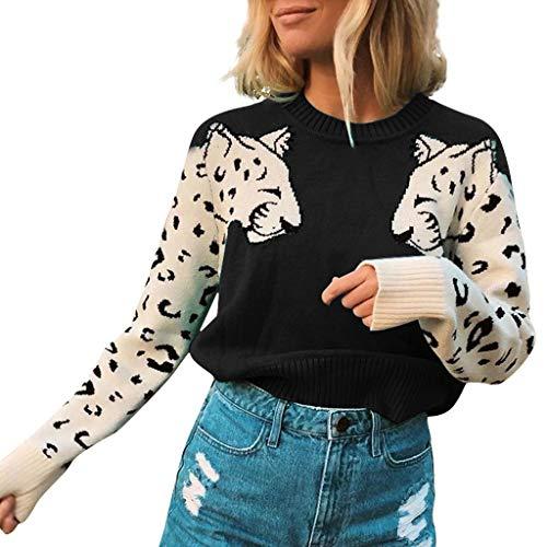 FRAUIT dames ronde hals korte pullover patchwork crop gebreide top crop gebreide trui Animal patroon sweater pulli