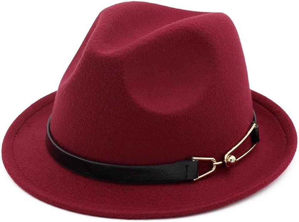 L.W.SUSL Women Men Fedora Hat with Leather Belt Elegant Lady Wool Party Hat Jazz Hat
