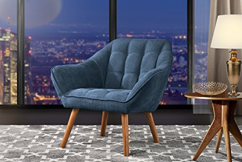 Divano Roma Furniture Accent Living Room, Linen Arm Chair with Tufted Detailing and Natural Wooden Legs (Blue)