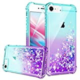 iPhone SE 2020 Case, iPhone 6/6S/7/8 Case with HD Screen Protector for Girls Women, Gritup Cute Clear Gradient Glitter Liquid TPU Slim Phone Case for Apple iPhone SE 2020/6/6S/7/8 Teal/Purple
