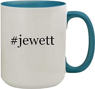 #jewett - 15oz Hashtag Ceramic Inner & Handle Colored Coffee Mug, Light Blue