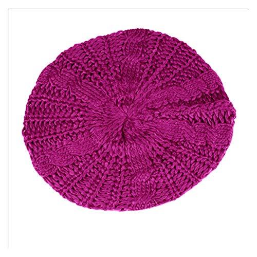 Hjdmcwd Sombrero de Invierno Moda Boina Trenzada Sombreros holggy Beanie Crochet cálido Invierno Sombrero de esquí Tapa Lana Tapa Hechas de Punto Mujeres señora Sombreros (Farbe : Rose)