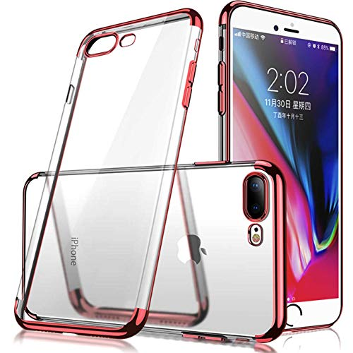 iBarbe Compatible with for iPhone 7 Plus Case, for iPhone 8 Plus Case, Crystal Transparent Skin Plating Frame Plating Bumper Soft Flexible TPU Shock Absorption,Slim Ultra Thin - Rose Gold