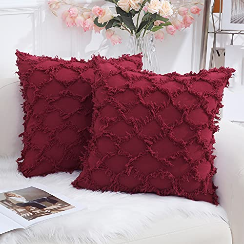 decorUhome Burgundy Decorative Pillow Covers 18 x 18 Inch Set of 2 Cotton Linen Throw Pillow Covers for Sofa and Couch