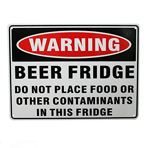 Warning Notice Wine Fridge Only Not Place Food Metal Sign 12 x 8 Inches