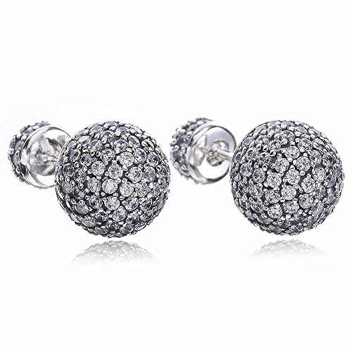 DJMJHG Auténtico Pendiente de Plata esterlina 925 Pave Gotas con Pendientes de Tachuelas de Cristal Completo para Regalo de Mujer