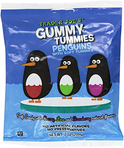 Trader Joe#039s Gummy Tummies Penguins with Soft Tummies Soft Candy with Cherry Lime and Strawberry Natural Flavors Fat Free Made in France Simply Delicious