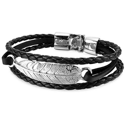 MunkiMix Metalllegierung Legierung Leder Armband Armreifen Kordelkette Schwarz Silber Ton Engel Flügel Engelsflügel Herren,Damen