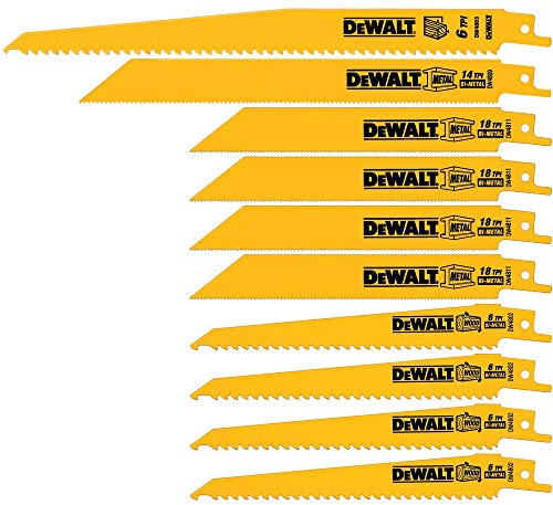 DEWALT Reciprocating Saw Blades, Bi-Metal Set with Case, 10-Piece (DW4898)