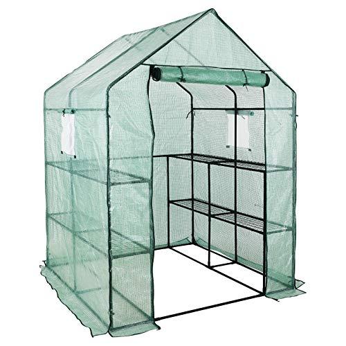 FIXKIT Invernadero para Tomates con Estante, Ventana, Ancla, Plantas, Flores, Verduras, Protege las Plantas (195 x 143 x 143 cm)