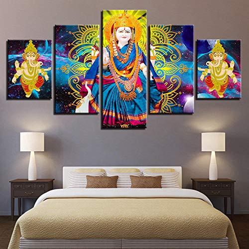 SZQY Cuadro En Lienzo 5 Partes HD Impreso Mural para La Moderno Decoración del Hogar Religión India Parvati Y Dios Elefante Ganesha